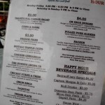 Happy hour menu