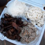 Lotsa meat, rice and mac salad!