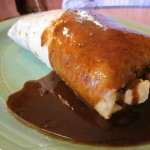 Beef burrito with mole sauce