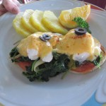 The garden benedict at Hau Tree Lanai Restaurant