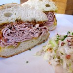 Full-size roast beef sandwich with coleslaw